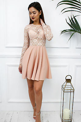 Glamzam New Womens Ladies Nude Lace Sheer Long Sleeve Skater Mini Party Dress