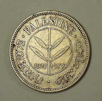 1927 Palestine Israel 50 Mils Silver 720 Circulated Quarter Sized Coin