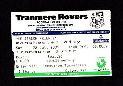 2001-2002 Friendly Tranmere Rovers v Manchester City  Ticket