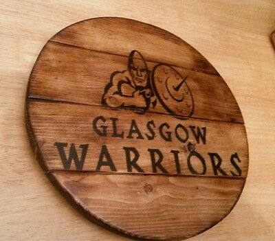 Glasgow Warriors rugby  plaque wooden sign  mancave shed bar pub