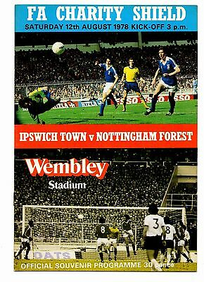 1978 Charity Shield Ipswich Town v Nottingham Forest  POST FREE
