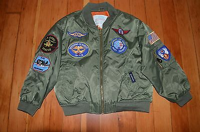 Flightline Authentic Flight Jacket with  Military Insignias Kids 8 Small Boeing