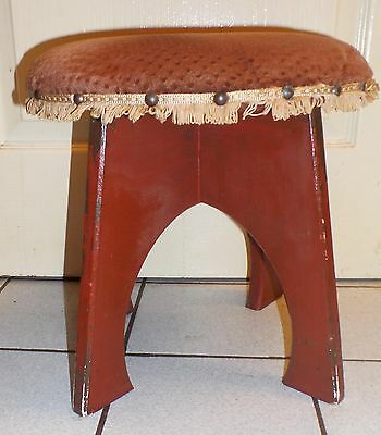 Vintage Padded Round Stool Wooden Legs Upholstered Top  Footstool Mid-Century