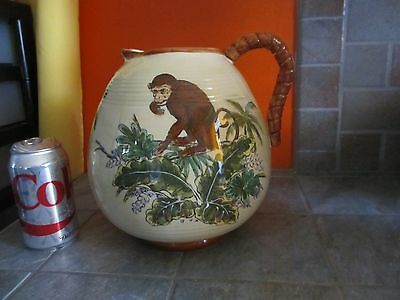 Cute Larger Sized PITCHER with MONKEY on PALM Leaves