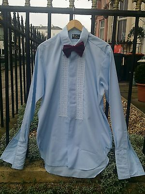 Vintage 70's Sky Blue Rochester ruffle evening dress party cocktail shirt.Large