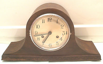 "British Prevail Oak Case Napoleon Hat Shape Striking Mantle Clock GWO 9""H"