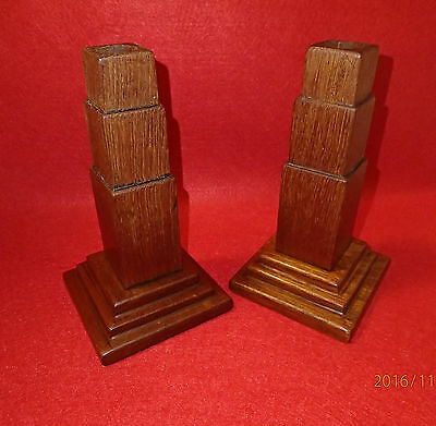 Pair of At Deco vintage dark wood candlesticks