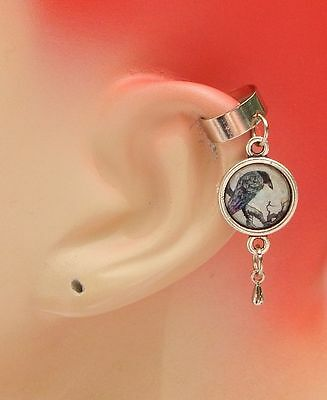 Raven Charm Drop/Dangle Ear Cuff Handmade Jewelry Silver Accessories New