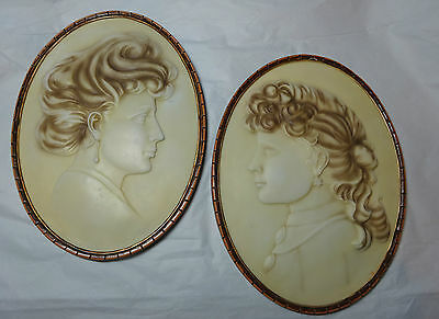 Vtg Victorian Cameo Classic Wall Plaque Art Embossed Casting Stone Ivory