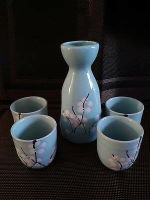 Porcelain Sake Set with 4 cups - Cherry blossom Blue- Japanese Style