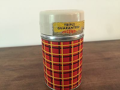 Vtg Red Plaid Thermos Bottle 10 Oz Size Tan Lid
