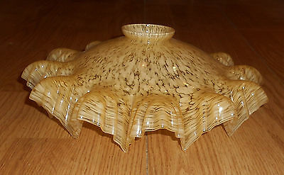 French Marbled Glass Light shade ruffled edges Charming Yellow