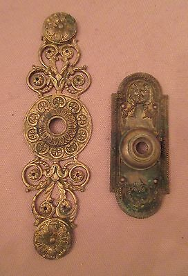 pair antique ornate 1800's gilt bronze door knock back plate hardware brass