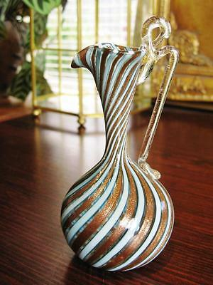 Beautiful vintage MURANO copper aventurine glass jug with applied handle.