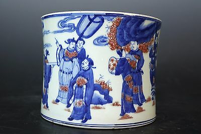 Beautiful Chinese Blue and White Underglaze Red Porcelain Character Brush Pot