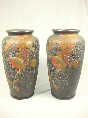 Vintage Japan Set of 2 Black Lacquer vase flowers birds