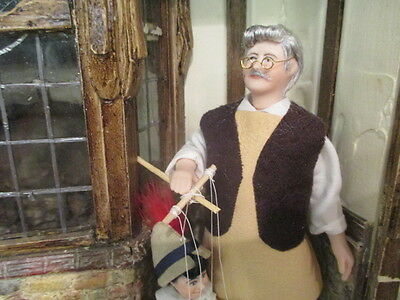 Dollhouse Miniatures ~ Handmade Porcelain Geppetto Doll & Pinocchio Puppet Doll