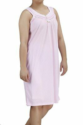 NEW EZI Women's Lacegown1 Sleeveless Cotton Striped Nightgown