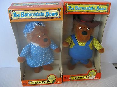 Vintage 1982 Fisher Price The Berenstain Bears Papa & Mama Bear Lot of 2 MIB
