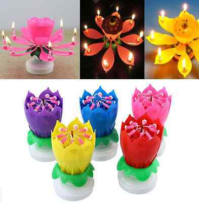 Amazing Musical Lotus Rotating Flower Birthday Party Gift Candle Red  Candle,