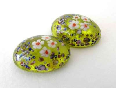 Vintage Flower Cabochon Jonquil Yellow White Red Glass Millefiori Oval 18x13mm
