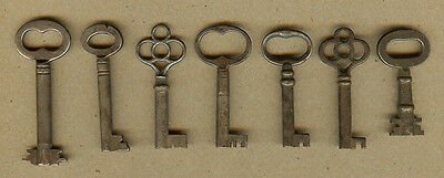 7 Old Original Vintage Furniture, Cabinet Skeleton Door Lock, Barrel Keys (C)