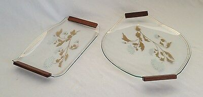 Two Matching Vintage C1970's Glass Serving Trays - Gorgeous Gold Gilt Design