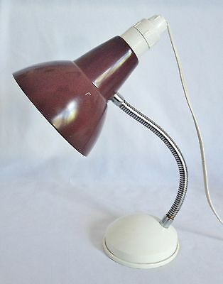 Vintage C1970's Brown Anodised Flexable Neck Bedside Table / Desk Reading Lamp