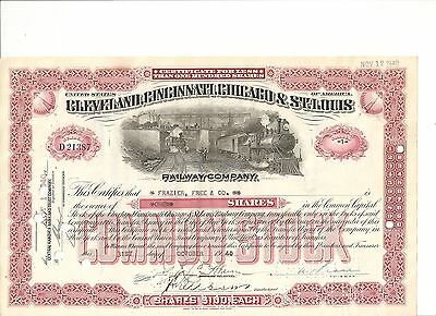 1940's Cleveland, Cincinnati, Chicago & St. Louis Railroad stock certificate