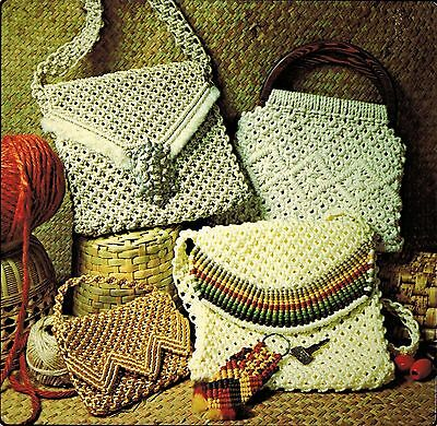 1976 Macrame Evening Shoulder Handbags Purses Tote Bag Patchwork Pattern Book