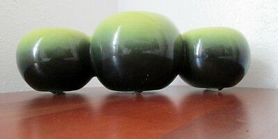 Vintage Hull Triple Bowl Planter in Green and Dark Green #106