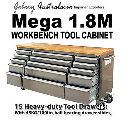 """72"""" (1800mm) Stainless Steel Garage workbench, tool trolley, Wood bench top"""