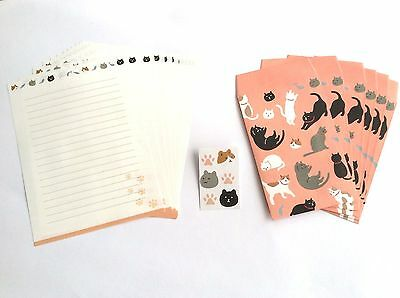 Japanese Kawaii Neko Cat letter paper envelope sticker Dear friend family CUTE