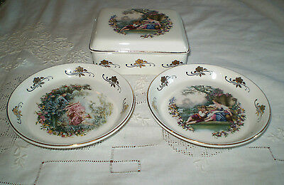 3 Lord Nelson Pottery  Hand Crafted Romantic Scenes Transfer Trinket Dishes