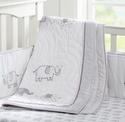 Pottery Barn Kids Taylor Organic Elephant Toddler Nursery Quilt New Mono removed