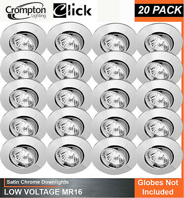 20 Pack x Satin Chrome Gimble Downlight Fittings 12V MR16 Gimbal