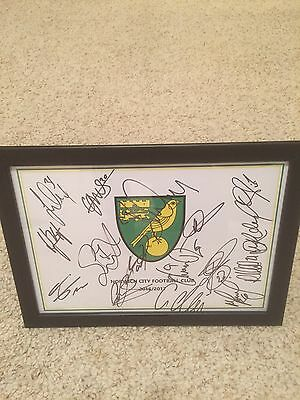 Hand Signed & Framed (x16) Norwich City Football Club A4 2016/17 Squad Sheet
