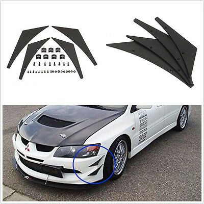 4In1 Black Car SUV Front Bumpers Splitter Fins Spoiler Canards Valence Universal