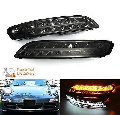 2x Porsche Black LED Light White Amber Daytime Side Fog Indicator 997 911 04-08