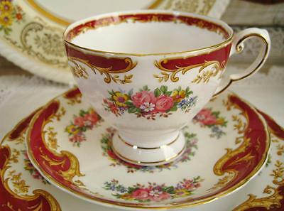 "FOR SALE...Vintage Tuscan English Bone China Trio ""Naples"" pattern."