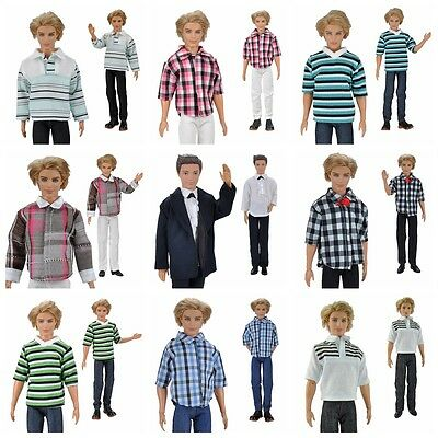 E-TING Casual Wear Shirt Suit Doll Clothes Pants Trousers For Barbie Ken Doll K