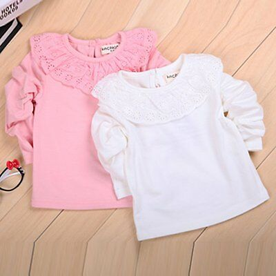 New Toddler Girl Baby Solid Ruffled Lace Tee Shirt Blouse Kid Cotton Top Clothes