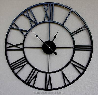 New Extra Large 100 cm Black Iron Metal Wall Clock French Provincial Style