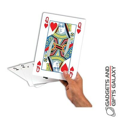 GIANT PLAYING CARDS LARGE GLOSSY A4 SIZE games toy gift novelty childs adults