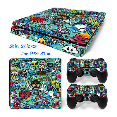 K 982# Body Sticker Decal Skin For Playstation 4 PS4 Slim Console+Controllers