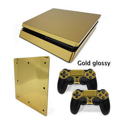 K Gold Glossy Sticker Decal Skin For Playstation 4 PS4 Slim Console+Controllers