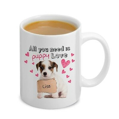 Personalised PUPPY LOVE MUG, Ceramic Mug, Dog Lover Gift, Girlfriend, Wife, Love