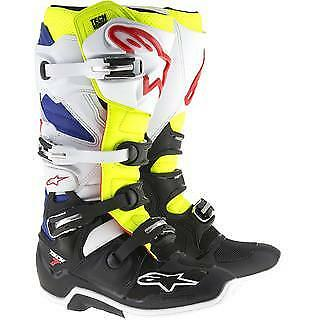 NEW Alpinestars Tech 7 Boots White Fluro Yellow Blue from Moto Heaven