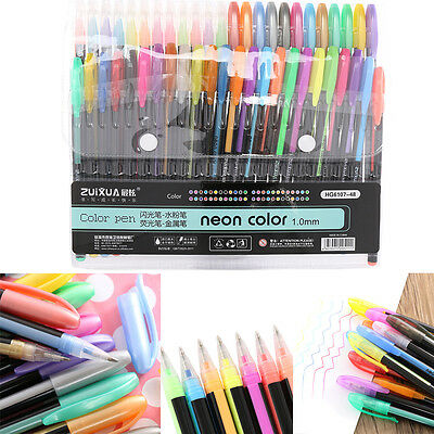 48 Colors Gel Pens Rollerball Pastel Neon Glitter Sketch Drawing Pen Set Markers