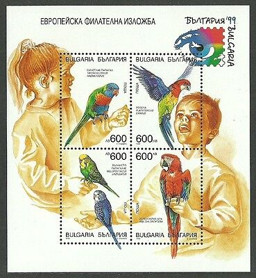 Bulgaria 1999 Stamp Exhibition Birds Parrots Macaw Lory Budgie M/sheet Mnh